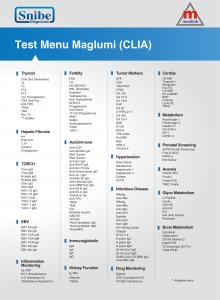 Test Menu Maglumi (CLIA) - Snibe